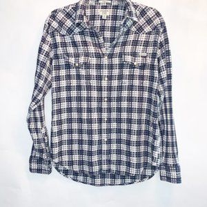 1024 Lucky Brand Plaid Blouse Snap Button down SP